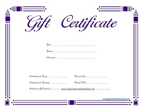 simple gift certificate template simple purple gift certificate template gift certificate