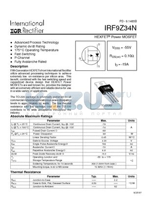 transistor mosfet rds irf9z34n datasheet power mosfet vdss 55v rds on 0 10ohm id 19a irf9z34n pdf by