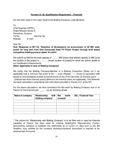 Financial Capability Letter Haryana Solar Bid Document Rfs