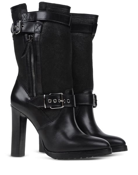 burberry boots burberry buckled leather mid calf boots in black lyst