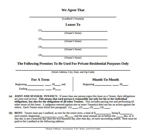 easy lease agreement template sle lease agreement 8 documents in pdf word