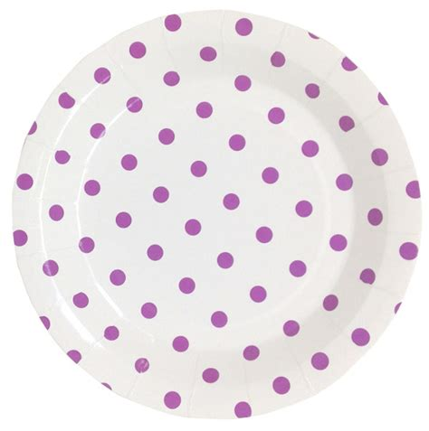 Dotted 12pcs paper plates 9in 12pcs orchid purple polka dot