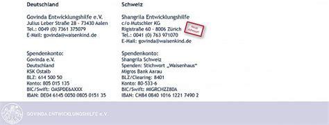 Schweiz Briefadresse Govinda E V News