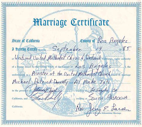 Marriage Certificate California Records California Marriage License Records