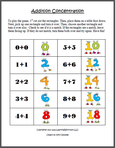 printable doubles games learning ideas grades k 8 addition concentration game