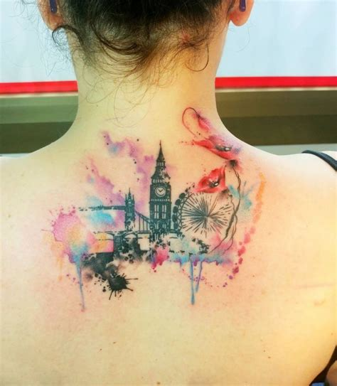 watercolor tattoos uk watercolor skyline ideas