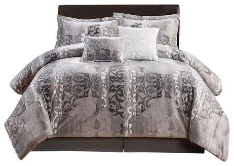 velvet comforter set king tia 6 piece velvet plush comforter set king