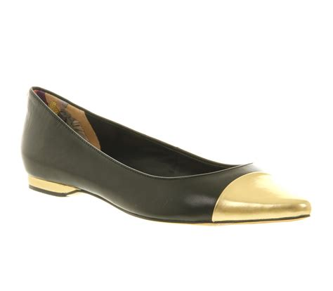 metallic flat shoes womens ted baker seliq flat court shoe black gold metallic