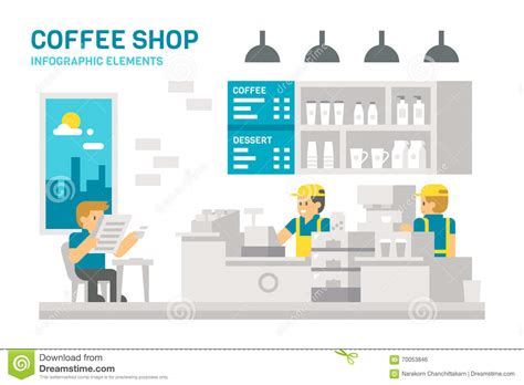 coffee shop flat design flat design coffee shop infographic stock vector image
