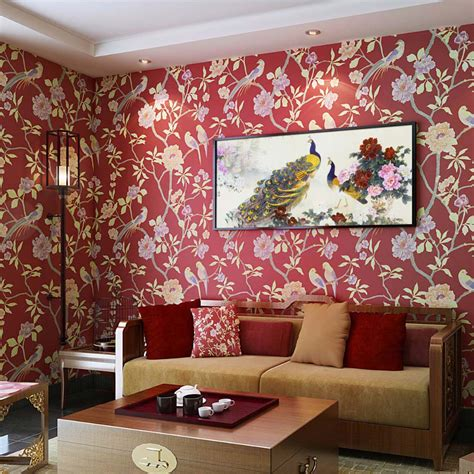 wallpaper for home decoration birds trees branch embossed textured non woven wallpaper