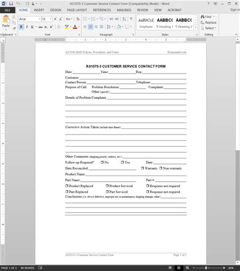 customer contact form template customer service contact form
