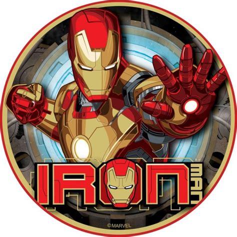 iron man round icing cake topper