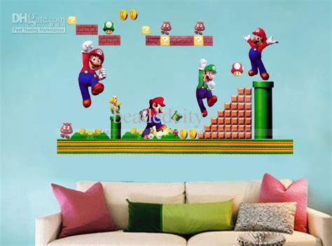 best vintage decals with peach wall color using sage green funlife classic retro game super mario bros wall sticker