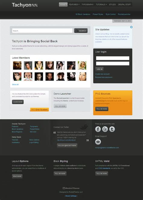 drupal themes community tachyon best drupal theme for social networking or community
