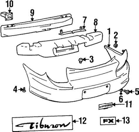 hyundai tiburon parts catalog bumper components rear for 2001 hyundai tiburon