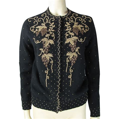 beaded cardigan 1950 s vintage beaded cardigan wool blend sweater sold on