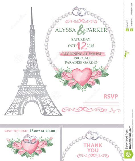 wedding invitation eiffel tower watercolor rose stock