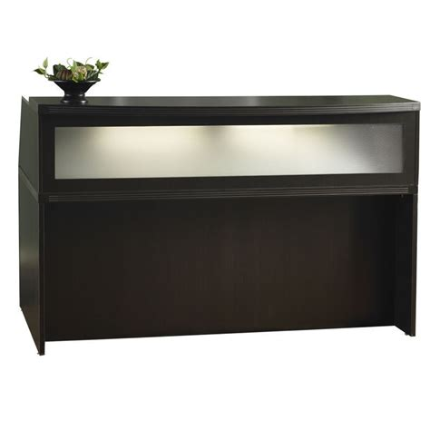 Mocha Finish Reception Desk With Textured Glass Ebay Reception Office Desk