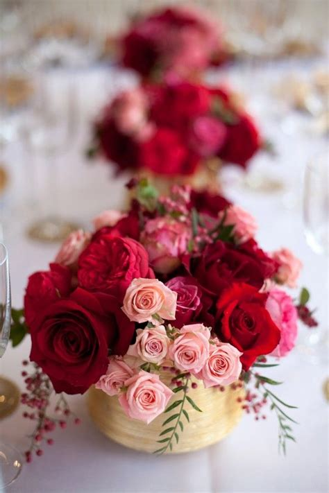 red pink rose gold vase centerpiece