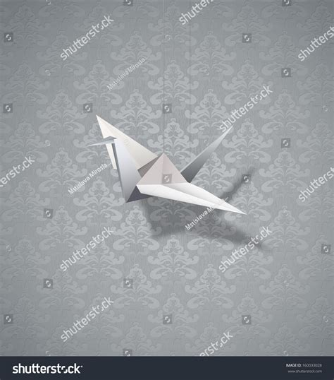 Origami Crane String - one origami crane on string on stock illustration