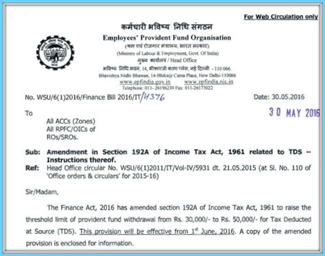 Sle Letter Epf Withdrawal Epf Withdrawals New Provisions Related To Tds