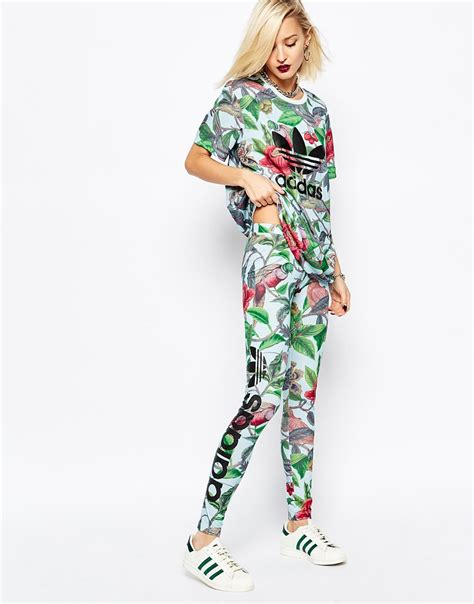 Adidas Flower Fastival Suitshirt Hoodie And Legging Print Compression lyst adidas originals originals florera leaf print