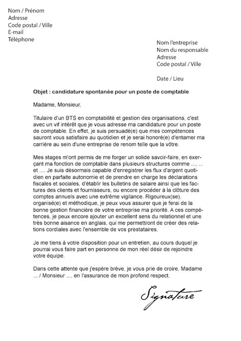 Lettre De Motivation Cabinet Comptable by Candidature Spontanee Cabinet Comptable