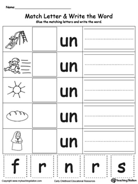 un pattern words ag word family match letter and write the word