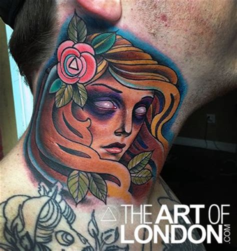 tattoo london new school old school girl face neck tattoo by the art of london