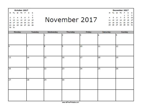 November 2017 Calendar Free Printable Allfreeprintable Com Free Calendar Template 2017 November