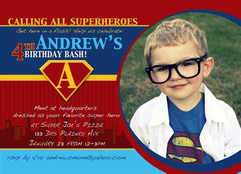 superman birthday card template birthday invitation custom superman photo card