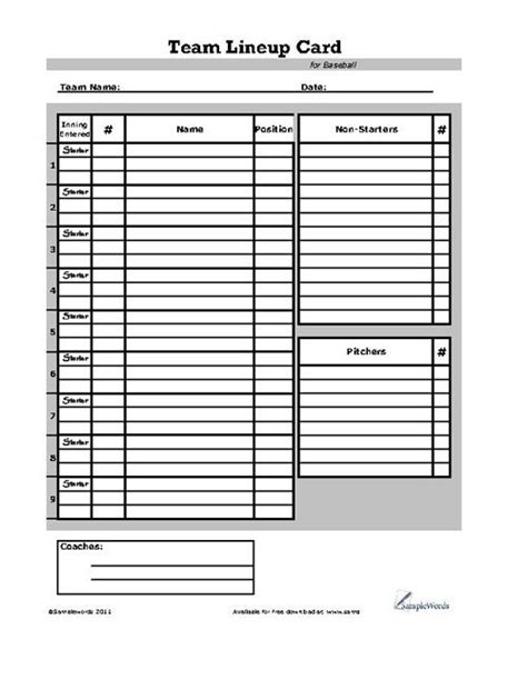 Baseball Lineup Card Template Word by Baseball Lineup Cards Free Printable Go Search