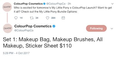 Colourpop Mini Set Bundle update my pony x colourpop swatches and bundle