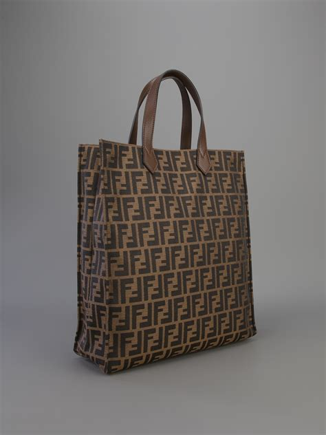 Fendi Shopper lyst fendi zucca shopper tote in brown