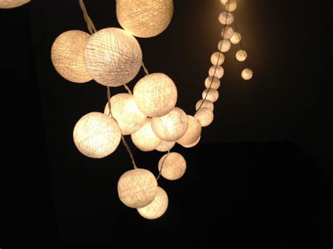 White Cotton Ball String Lights For Patioweddingparty And White String Light