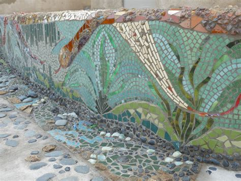 mosaic pattern landscape retaining and landscape wall calimesa ca photo