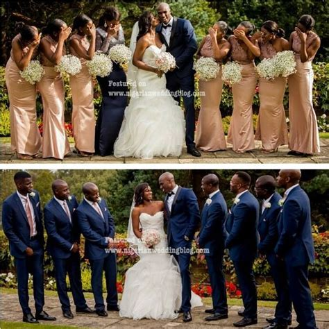 Rose gold theme, like the navy suits .   Wedding ideas