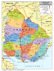 political map of uruguay political map of uruguay with provincial state boundaries by bestcountrreports