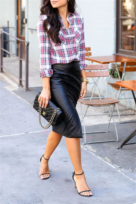 leather pencil skirt with plaid shirt