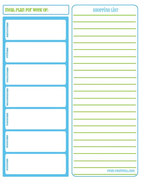 printable planner lists weekly meal planners and shopping lists free printable