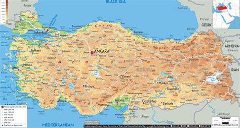 turkey on a map of europe physical map of turkey ezilon maps