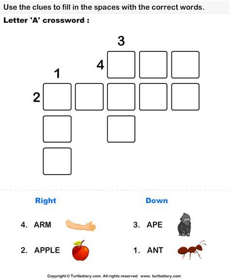 Letter Xword alphabet crossword turtlediary