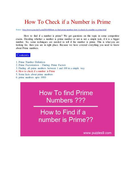 How To Find How To Find Prime Numbers And How To Check If A Number Is Prime