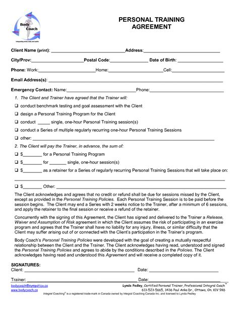 Personal Training Forms Images Personal Training Agreement P T Pinterest Personal Workout Waiver Template