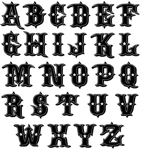 tattoo alphabet stencil image detail for new kustom font for alternative abcs
