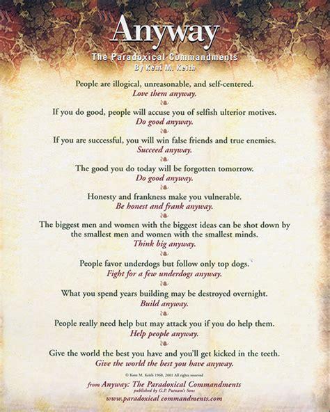 Paradoxical Commandments Printable posters anyway the paradoxical commandments