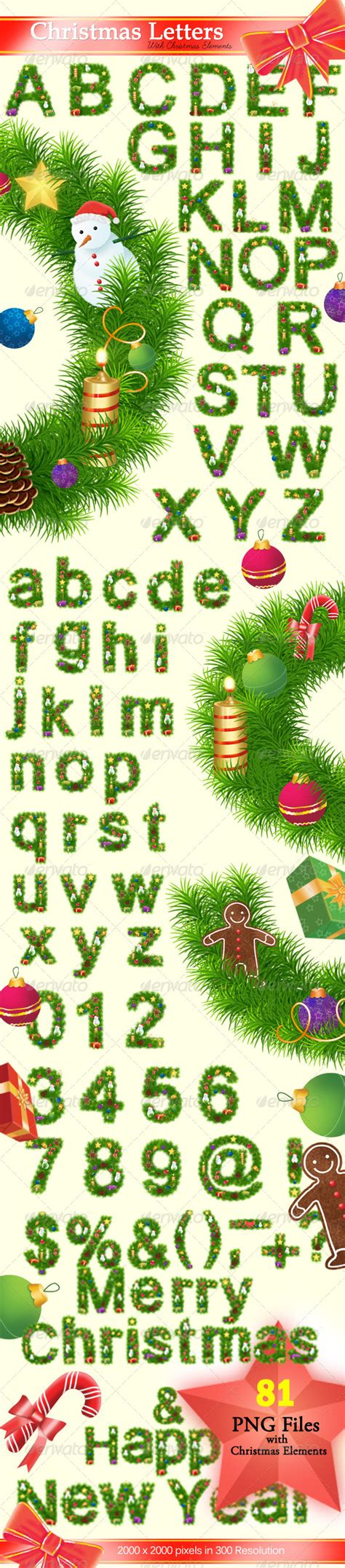 decorative christmas letters letters graphicriver