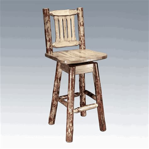 Pine Log Bar Stools by Amish Quot Glacier Quot Pine Log Bar Stool With Back Swivel