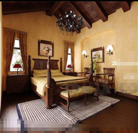 retro ethnic wooden bedroom 3d model downloadfree 3d