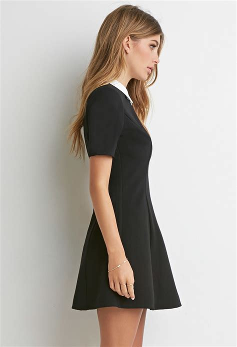 White Texture Collar Dress Size Sml lyst forever 21 contrast collar textured dress in black